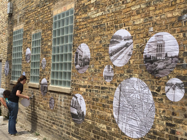 History of Jefferson Park installed on alley wall