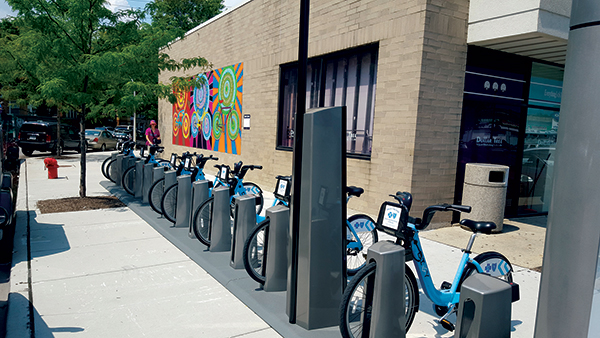 Divvy Bike Spot installed at Six Corners