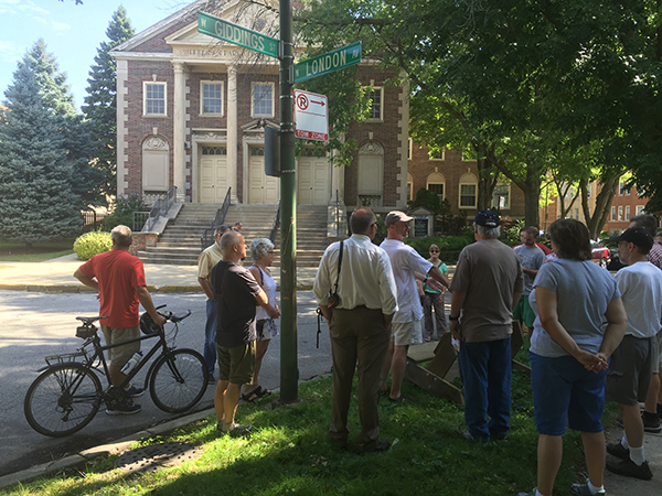Residents listen to highlights of Jefferson Park Developement on walking tour