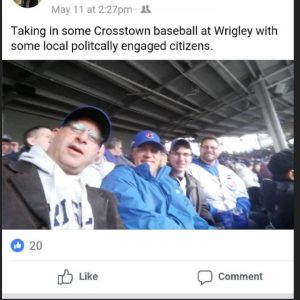 Alderman John Arena attends Cubs game with Representative Robert Martwick and committeeman Frank Avino Jr. when he had said he was with his mother
