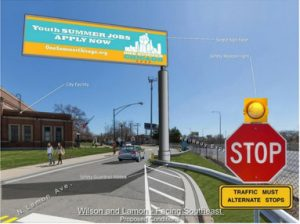 Rendering of Digital billboard on Wilson Ave on Chicago's Northwest Side