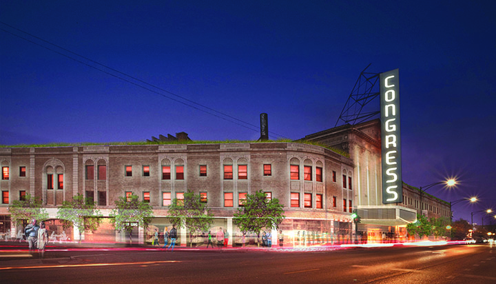 Rendering of the proposed project and redevelopment of the Congress Theater