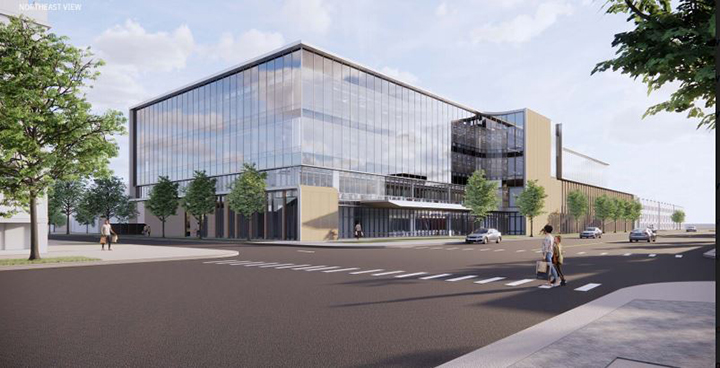 Rendering of the proposed medical facility on Irving Park Rd