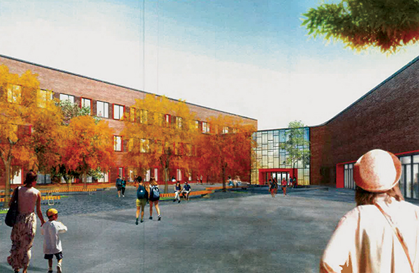 Rendering of the proposed high school in Chicago's Dunning neighborhood